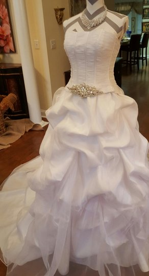 Maggie Sottero White Organza Taffeta Lace Two Piece Gown Traditional Wedding Dress Size 6 (S) Image 7