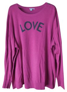 Halogen Plus-size Love Crewneck Zipper Accent Sweater