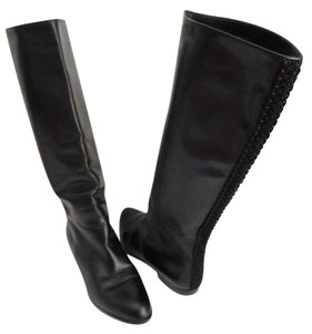 Galo Knee High Leather Size 8.5 Italian Italian Leather Black Boots