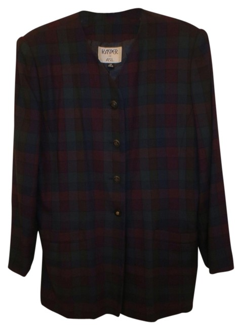 Preload https://item1.tradesy.com/images/kasper-multicolor-plaid-on-navy-fully-lined-jacket-pant-suit-size-14-l-1443930-0-0.jpg?width=400&height=650
