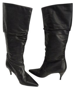 Via Spiga Knee High Size 8 Leather Black Boots