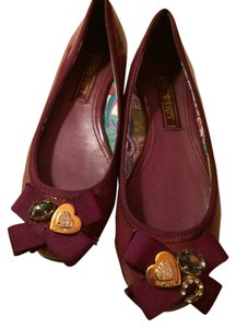Coach Red Ballet 6 Patent Burgandy Flats