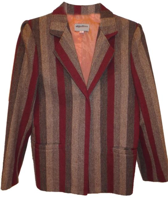 Preload https://item5.tradesy.com/images/multicolor-strip-of-brown-fully-lined-pure-wool-jacket-pant-suit-size-10-m-1443994-0-0.jpg?width=400&height=650