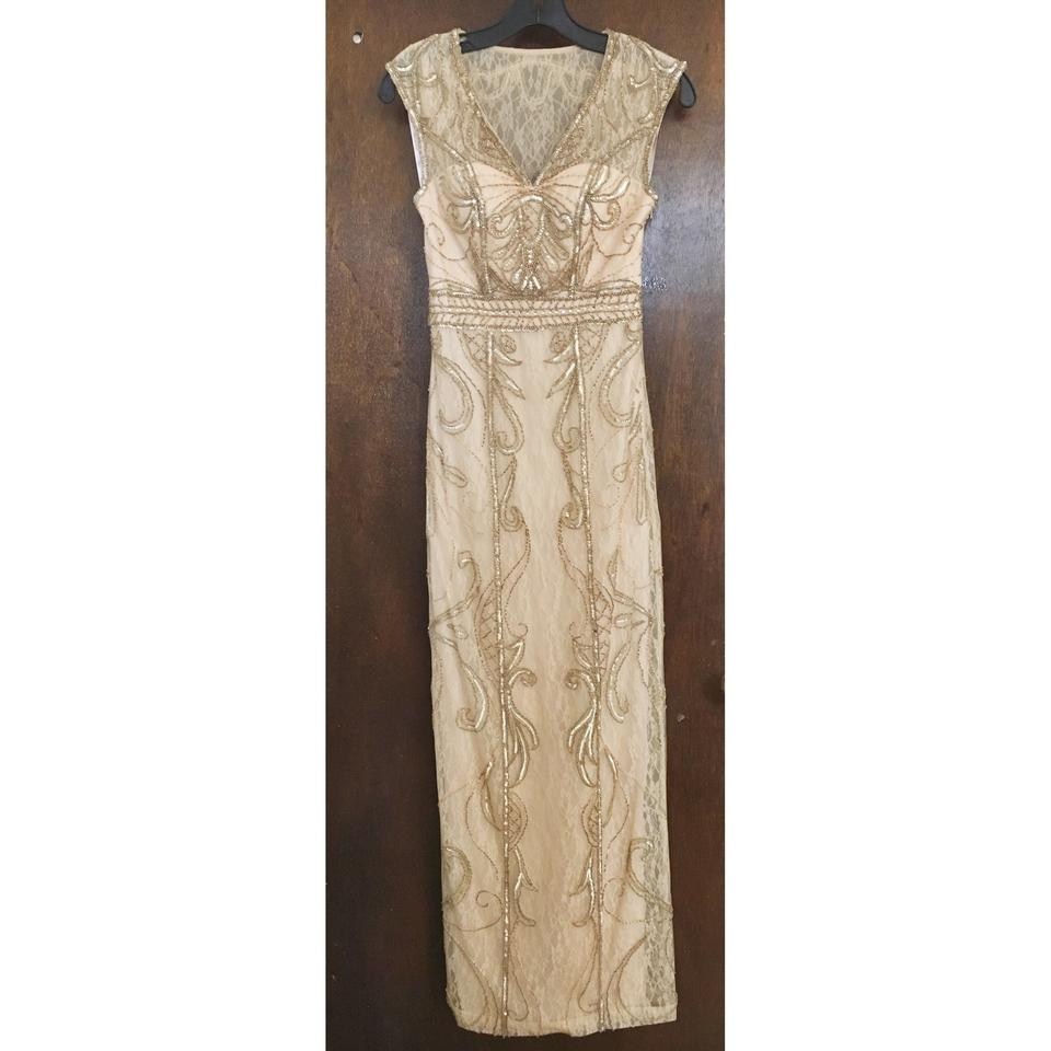 Sue Wong Champagne Lace Evening Gown Feminine Wedding Dress Size 0 ...