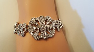 Great Gatsby Inspired Bridal Braclet Platinum Plated Austrian Crystals