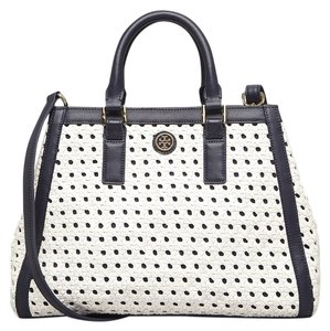 Tory Burch Satchel in Navy Blue White