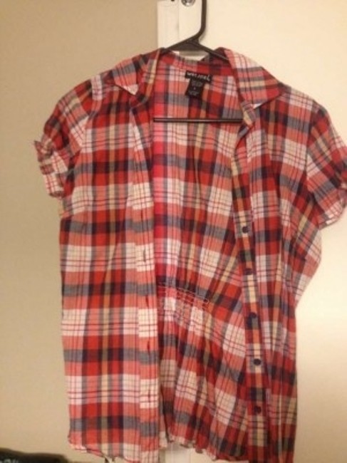 Wet Seal Button Down Shirt red plaid