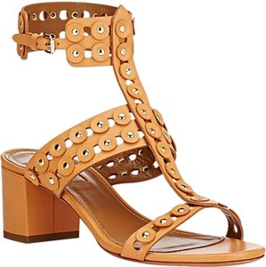Aquazzura Studded Boho Leather Chunky Dark Tan Sandals