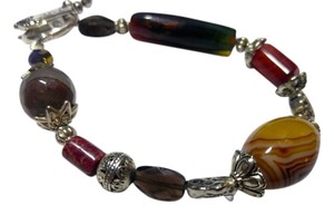 Other New Agate Gemstone Bracelet Silver Tone Handmade J2374
