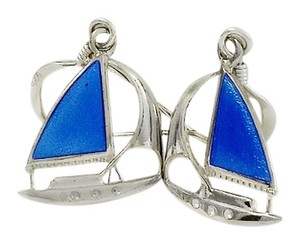 Sterling Sailboat Earrings - Silver and Blue Nautical Earrings