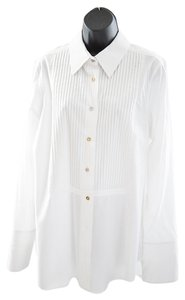 Pink Tartan Pin Tucked Classic Collar Button Down Top white