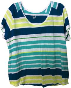 jcp T Shirt Striped blues/greens 3x