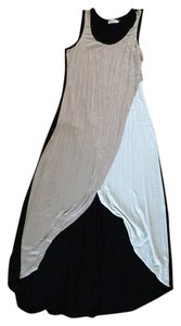Black back, cream and tan front Maxi Dress by Calvin Klein