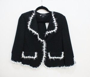 St. John St. John Black Label Black Knit Jacket White Fringe Trim Rt Grp 1