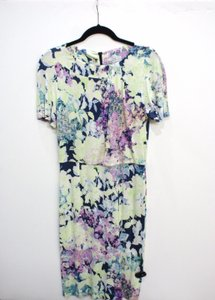 ERDEM Blue And Green Floral Stretch Dress