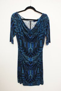 Robert Graham Hila Blue Reptile Print 468 Sample Dress