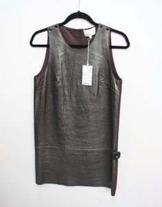 3.1 Phillip Lim short dress Multi-Color Lamb Leather Graphite Burgundybrown Shift on Tradesy