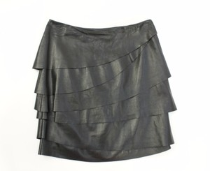 Ralph Lauren Label Lamb Leather Tiered Skirt Blacks