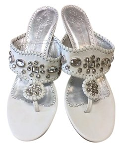 Jack Rogers Leather Upper Faux Jewels Thong Toe & WHITE & SILVER Sandals