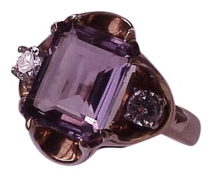 Other Vintage Estate 10k Yellow Gold Amethyst Diamond Ring