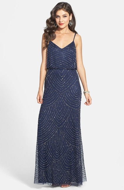 Item - Navy Blue Slightly Stretchy Beaded Mesh Formal Bridesmaid/Mob Dress Size 4 (S)