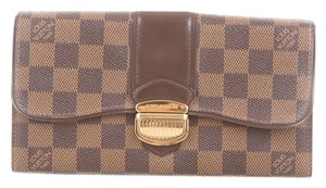 Louis Vuitton Brown, tan Damier Ebene leather Louis Vuitton Sistina wallet
