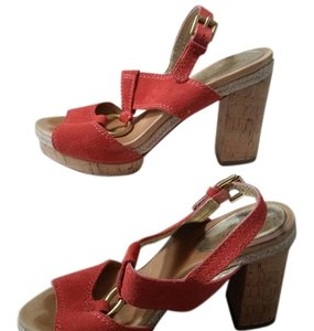 Coach Suede Gold Hardware Chunky Platform Night Out Orange coral Sandals