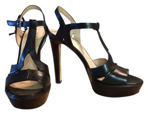 Michael Kors T-strap Sandals Leather Black Platforms