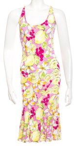 Blumarine Sundress Sleeveless Floral Print Silk Dress