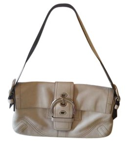 Coach Cream Silver Hardware Leather Shoulder Bag