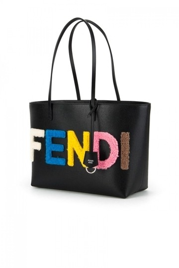 26ca2f6b2473 Fendi Fur Logo Small Roll Black Leather Shearling Tote - Tradesy