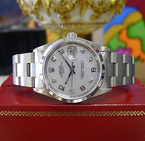 Rolex Mens Rolex Oyster Perpetual Date 34mm Mother Of Pearl Stainless Steel