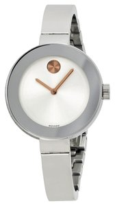 Movado Silver tone Stianless Steel with Rose Gold Accents Slim Bangle Designer Ladies Watch