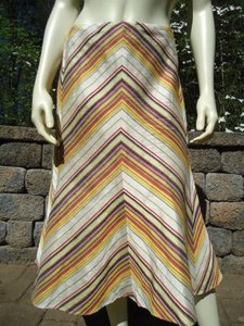 Etcetera Etc Silk Embroidered Diagonal Stripes Lined Fluted Back Zip Skirt Multi-Color