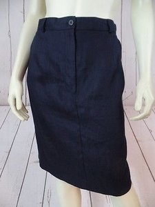 Talbots Petites Irish Linen Straight Pockets Back Slit Chic Skirt Navy Blue