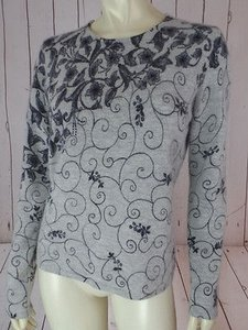 Carole Little Lambswool Angora Nylon Floral Chic Sweater