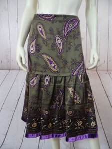 Etcetera Etc Silk Paisley Tiered Peasant Hot Skirt Bronze Olive Purple