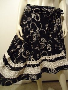 Miss Me Boho Lined Embroidery Lace Asymmetrical Hem Flamenco Hot Maxi Skirt Blacks