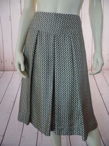 Banana Republic Silk Pleated Lined Geometric Classy Skirt Brown Olive Cream