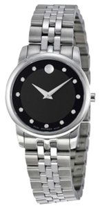 Movado Black Dial with Diamond Markers Silvr Stainless Steel Designer Ladies Luxury Dress Watch