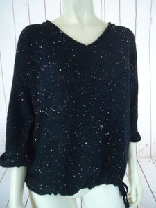 DKNY Jeans Cotton Poly Drawstring Waist Sparkle Chic Sweater