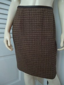 Magaschoni Mag Straight Stretch Wool Silk Blend Tweed Leather Trim Hot Skirt Brown/Tan