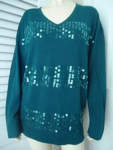 DKNY Donna Karan Nyc Oversize Cotton Blend Sequined Hot Sweater