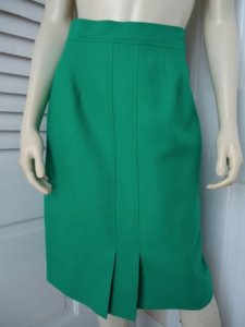 Louis Feraud Runs Small Vintage Wool Straight Kick Pleat Skirt Green