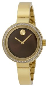 Movado Yellow Gold Plated Diamond Crusted Bezel Metallic Chocolate Dial Bangle Designer Watch