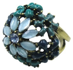 New Blue Flowers Chunky Statement Ring Size 10 Antiqued Gold J2378