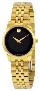Movado Black Dial Gold tone Stainless Steel Designer Ladies Dress Watch