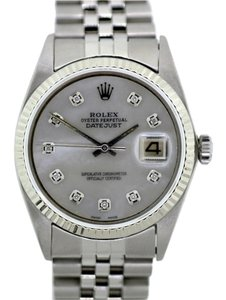 Rolex MEN'S ROLEX DATEJUST DIAMOND DIAL WATCH WITH 18K WHITE GOLD BEZEL