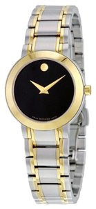 Movado lack Dial Two Tone Gold and Silver Stainless Steel Designer Ladies Dress Watch