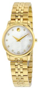 Movado Mother of Pearl Dila with Diamond Markers Gold tone Stainless Stel Designer Dress Watch